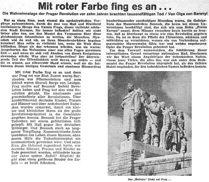 """K 10. výročí pražské revoluce přinesl list Sudetendeutsche Zeitung cyklus jejích vzpomínek na konec války v Praze, zpracovaných později v románě """"Prager Totentanz"""" - jedno z pokračování cyklu doprovázel aktuální snímek Stalinovy sochy, odhalené na 1. máje 1955 s nápisem """"Československý lid svému osvoboditeli!"""" na podstavci"""