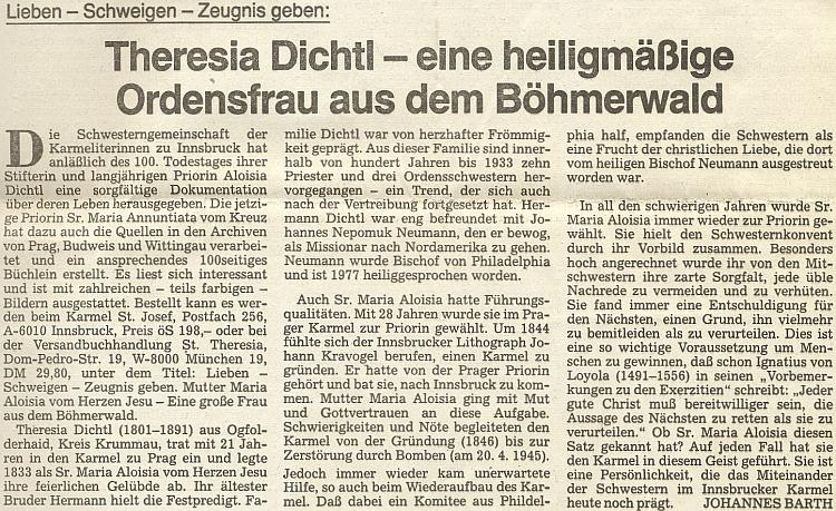 Jeho článek o Theresii Dichtlové ze zaniklého dnes Jablonce na stránkách oficiálního orgánu krajanského sdružení