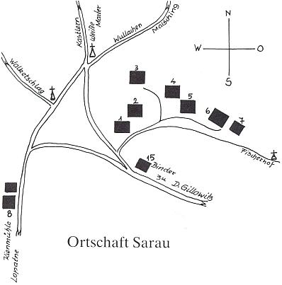 Plánek zcela zaniklého Kyselova se zakreslením školy a domu pro učitele pod čp. 8 vlevo dole (viz i letecké snímky)