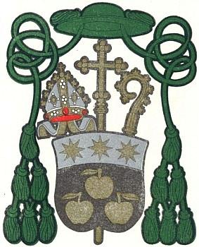 """Znak českobudějovické diecéze, jehož černá a zlatá jsou odvozeny ze znaku pražského arcibiskupství, odkud ji oddělila papežská bula """"Cunctis ubique"""" 20. září 1785"""