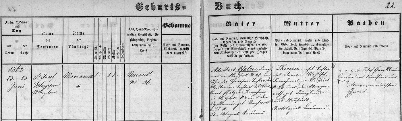 Záznam kájovské křestní matriky o narození otcově 25. května 1862 v Lazci (Losnitz) čp. 15