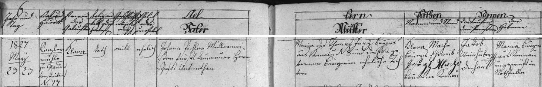 Záznam kájovské křestní matriky o narození jeho babičky z otcovy strany Klary Pichlerové 23. května 1827 na dnes zaniklém Blahově mlýně (Kegelhammer či Kögelhammer)
