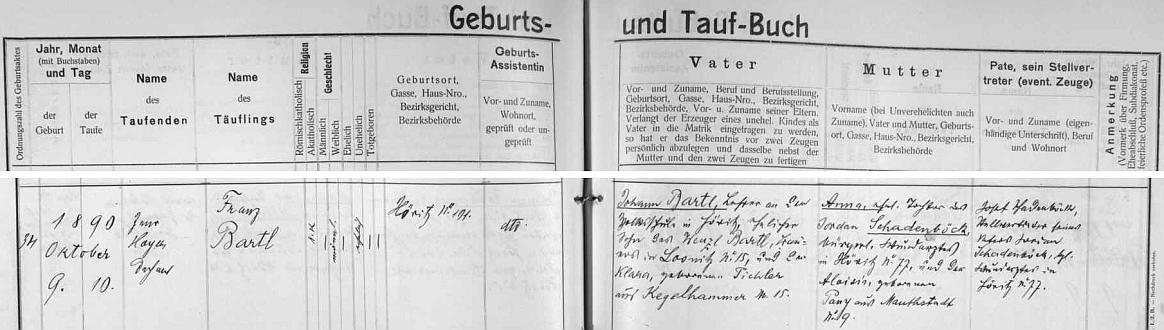 Podle záznamu v křestní matrice obce Hořice na Šumavě narodil se tu 9. října 1890 otci Johannu Bartlovi, učiteli zdejší obecné školy (synovi Wenzla Bartla, rolníka v Lazci, farnost Kájov, jehož žena Klara, roz. Pichlerová, pocházela z Bláhova mlýna, německy Kegelhammer, čp. 15), matkou novorozence byla Anna, dcera Jordana Schadenböcka, hořického ranhojiče (Wundarzt) a jeho ženy Aloisie, roz. Panyové, z Mýta čp. 9