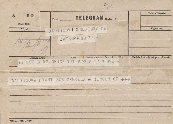 Telegram, oznamující matčino úmrtí