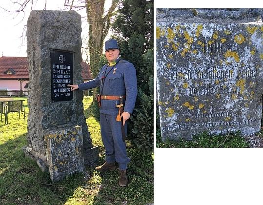 Pomník více než 5000 Šumavanům, padlým v letech 1914-1918 na několika frontách první světové války především v řadách 91. pěšího regimentu budějovického, stojí dodnes na Pöstlingbergu u rakouského města Linec nad údolím Dunaje - deska z pomníku u Jamiana je připevněna dole; u pomníku stojí Baudischův pravnuk Jan Bican, předseda spolku Jednadevadesátníci, který připomíná historii pluku