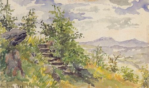 Její akvarel z roku 1906 tu zachycuje horu Ostrý