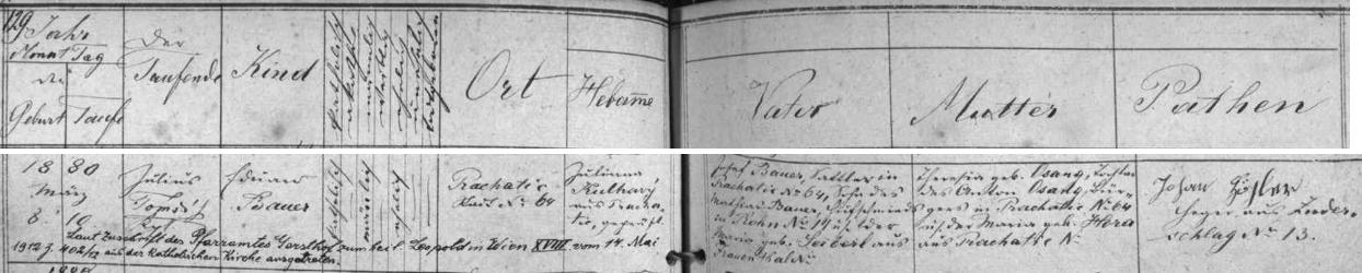 Záznam o jeho narození v prachatické křestní matrice s pozdějším přípisem  o jeho vystoupení z církve v roce 1912