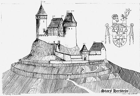 Starý Herštejn jak asi vyhlížel kdysi s erbem pánů z Ronšperku...