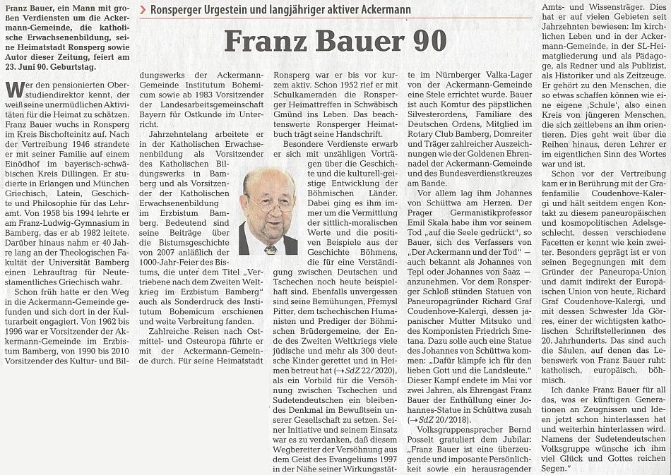 Pozdrav k jeho devadesátinám na stránkách ústředního krajanského listu