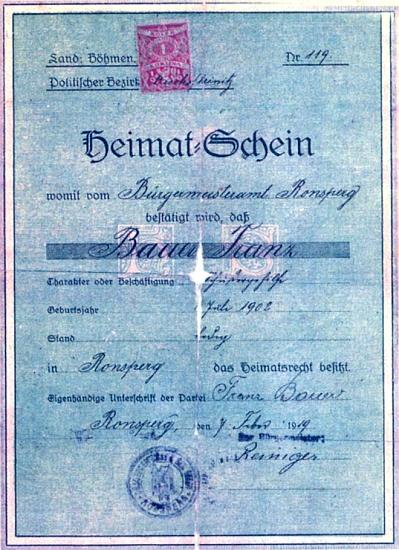 Domovské listy jeho děda Johanna Bauera a otce a jmenovce Franze Bauera staršího