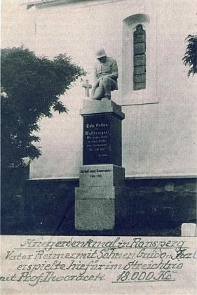 Ronšperský památník padlým v první světové válce a jeho trosky v dnešních Poběžovicích