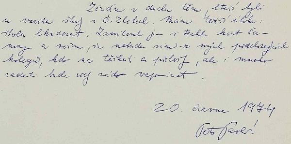 Spisovatelem Petrem Pavlíkem podepsané svědectví o likvidaci školy v Českých Žlebech