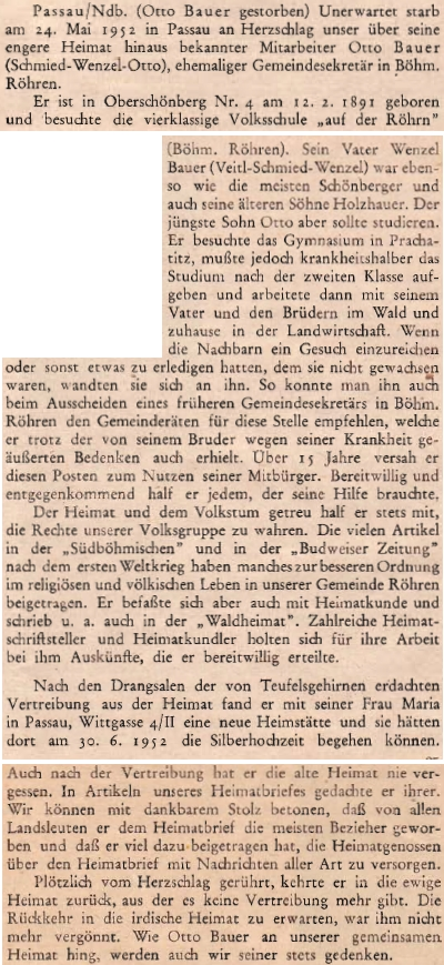 Nekrolog v krajanském časopise