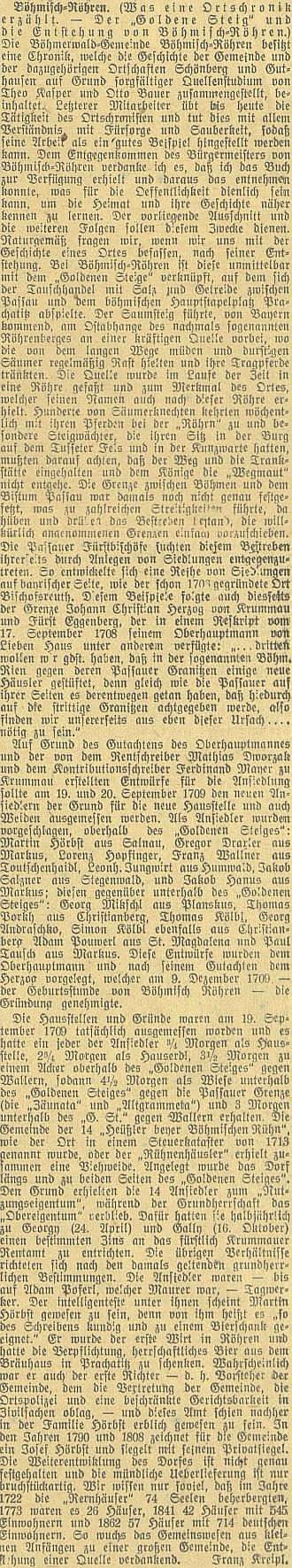 Článek Franze Kreipla v českobudějovickém německém listu, čerpající z kroniky vedené Theodorem Kasparem a Otto Bauerem, vyšel o roku později i v časopise Mein Böhmerwald