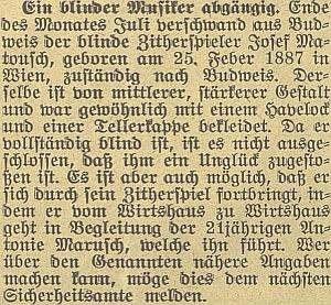 O tom, že se slepý citerista Matousch v Českých Budějovicích pohřešuje, psal Budweiser Zeitung již několik dní předtím, než na to upozornil ze Stropnice děkan Bauer