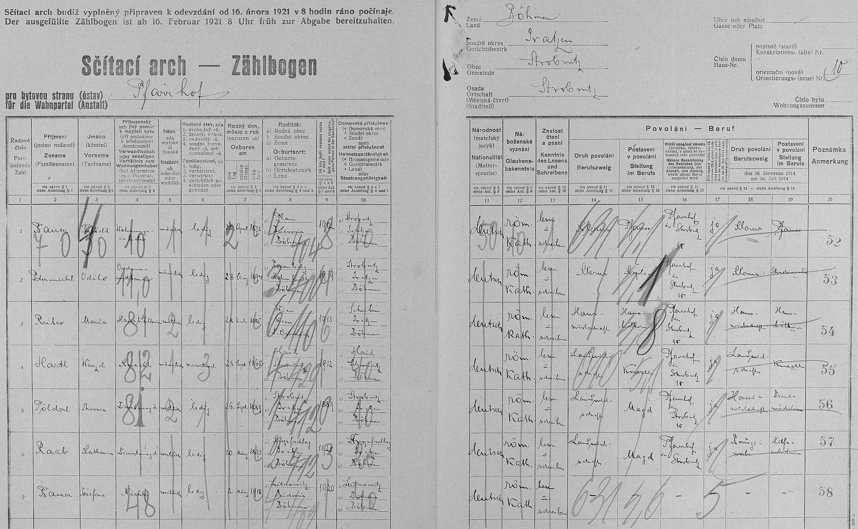 """Arch sčítání lidu z roku 1921 pro """"farní dvůr"""" (Pfarrhof) čp. 10 v Horní Stropnic i s jeho daty"""