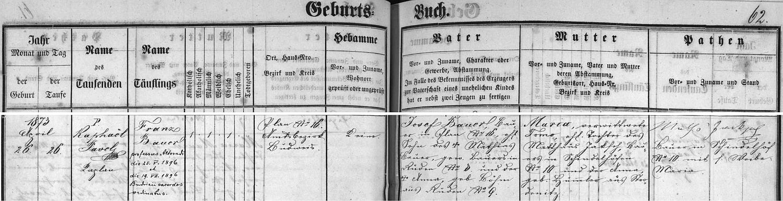 Záznam o jeho narození v křestní matrice farní obce Boršov nad Vltavou