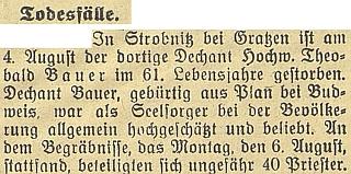 Zpráva o úmrtí Theobalda Bauera v českobudějovickém německém listu