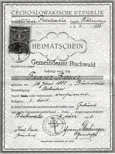 Domovský list jeho předka z Bučiny