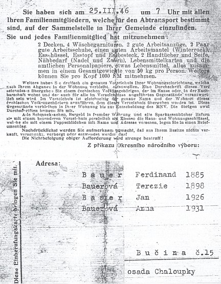 Dokument o vysídlení Bauerových z Bučiny