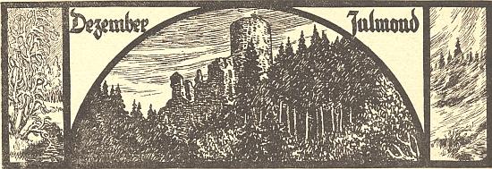 Hrad Lichtenegg na kalendářové ilustraci Felixe Schustera