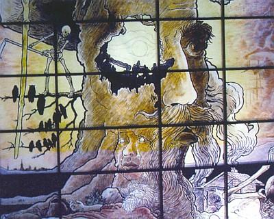 Symbolické zpodobení Mühlhiaslovo v Gläserne Scheune u Viechtachu, jak je na skle namaloval Rudolf Schmid