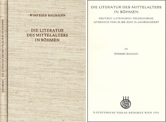 Vazba a titulní list (1978) jeho knihy o středověké literatuře v Čechách (nakladetelství Oldenbourg, Mnichov)