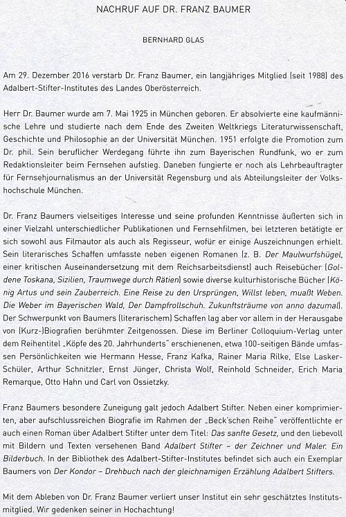 Nekrolog na stránkách ročenky lineckého Institutu Adalberta Stiftera