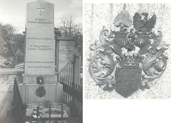 Hrob ve Vídni-Hietzingu s detailním záběrem erbu