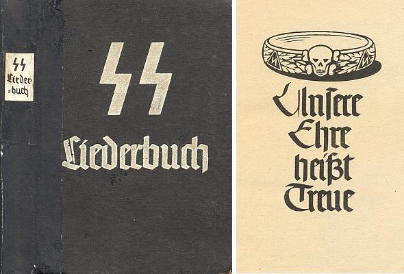 Válečná úsporně papírová vazba 9. vydání zpěvníku zbraní SS se zlopověstnou vražednou lebkou hned za titulním listem - pozor, Hans Baumann tu má hned dvacatero písňových textů
