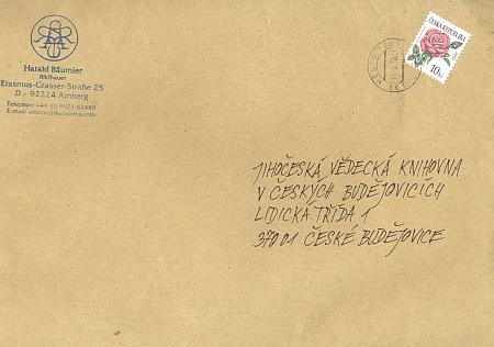 Obálka a dopis s jeho autogramem, kterým doporovodil svůj knižní dar do fondu Jihočeské vědecké knihovny