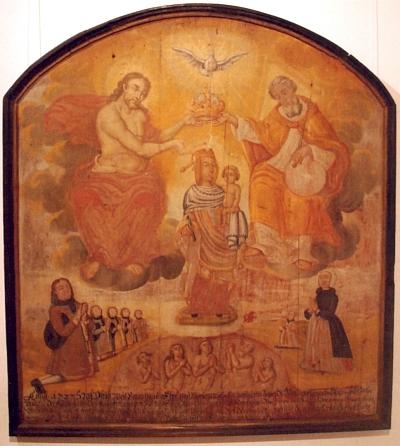 Votivní obraz s Nejsvětější trojicí a soškou Madonyz Neukirchen beim Heiligen Blut