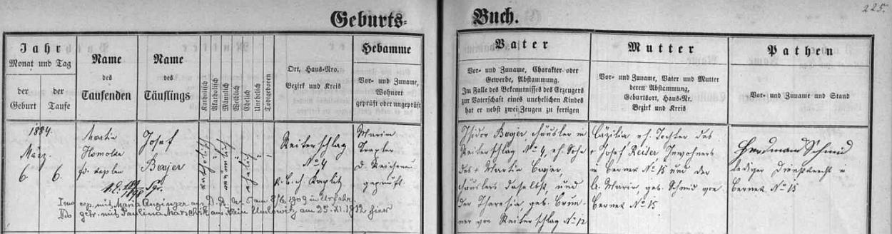 Záznam v matrice farní obce Rychnůvek o jeho narození chalupníku Isidoru Bayerovi (synu Martina Bayera na témže stavení čp. 4 v Reiterschlagu a jeho ženy Theresie, roz. Brunnerové ztéže vsi čp. 12) a Cäzilii, dceři Josefa Reitera a jeho ženy Marie, roz. Schmidové, obou zBerneku, provázený přípisem o dvou sňatcích Josefa Bayera, z nichž prvý s Marií Anzingerovou zNěmeckého Rychnova (tj. dnes zaniklého Rychnůvku) čp. 5 se konal v červnu roku 1909 v Urfahru (dnes část Lince), druhý pak s Paulinou Marschikovou z Omleniček v listopadu 1912 zde (tj. v někdejším rychnůveckém kostele sv. Václava)