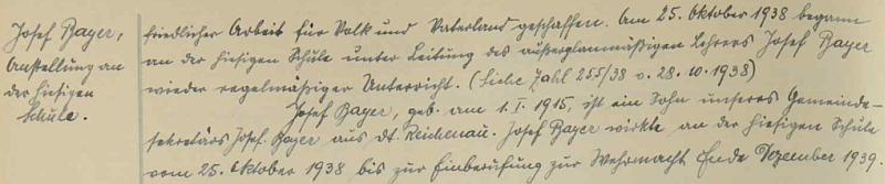 Záznam o nástupu jeho syna do školní služby v Dolním Markschlagu (dnes zaniklá Dolní Hraničná) v říjnu 1938, ovšem na pouhý rok do povolání k wehrmachtu koncem prosince 1939 (z války se už nevrátil)