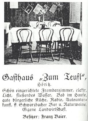 """Na inzerátu hostince Zum Teufl je kupodivu majitel psán nikoli """"Bayer"""", nýbrž """"Baier"""" - asi i tak každý trefil"""