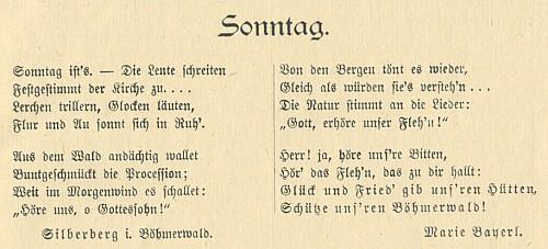 Její báseň na stránkách lednového čísla časopisu Der Böhmerwald z roku 1900 i s označením jejího bydliště