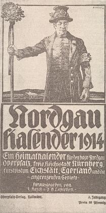 """Svatební """"zváč"""" (""""družba"""") na obálce hornofalckého kalendáře zroku 1914"""