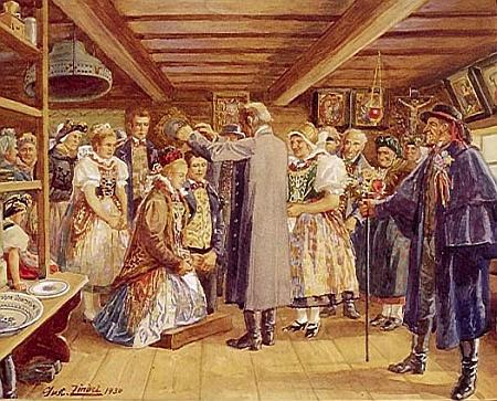 Německá selská svatba z jihozápadních Čech s nezbytným družbou (zvaným i tlampač nebo zváč) na malbě Gustava Zindela (1883-1959) zroku 1930