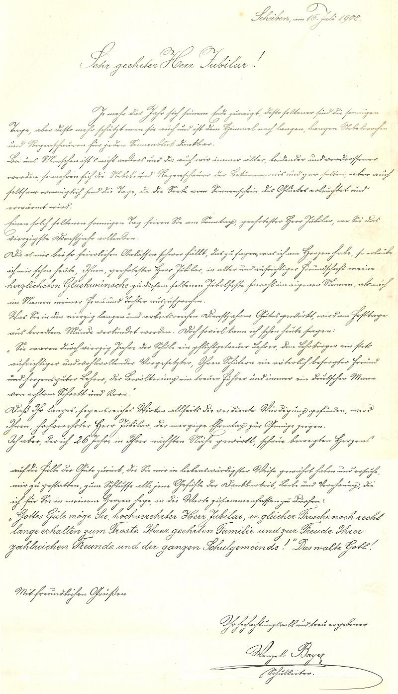 Jeho krasopisné blahopřání Franzi Steinkovi ke 40. jubileu učitelské služby z roku 1908