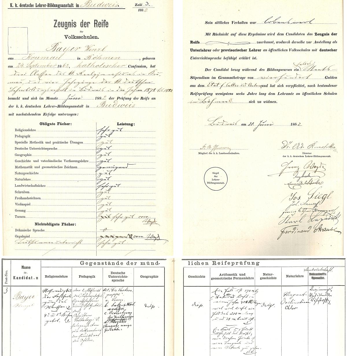 Záznamy o jeho maturitní zkoušce na českobudějovickém německém učitelském ústavu v roce 1882