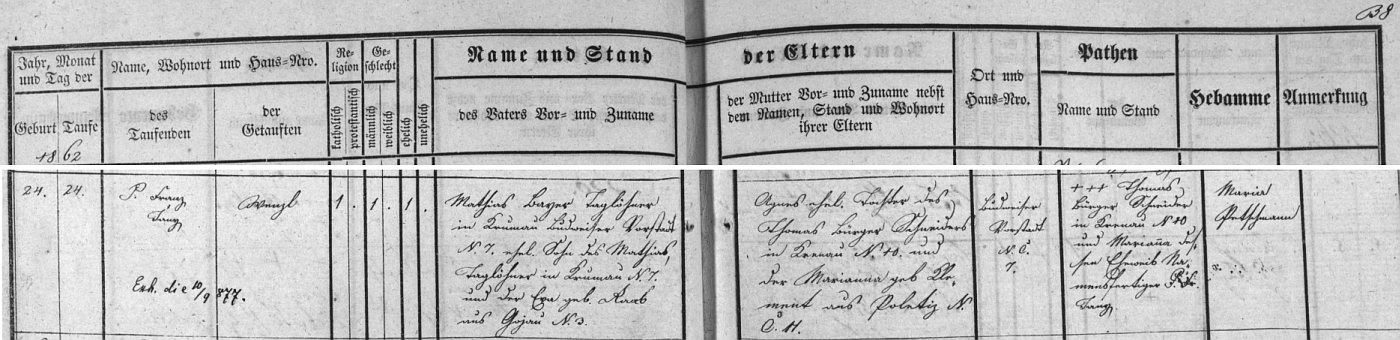 Narodil se v září roku 1862 na Budějovickém předměstí Českého Krumlova čp. 7 nádeníkovi Mathiasi Bauerovi (i jeho otec téhož jména i příjmení tu nádeničil, matka Ewa byla roz. Raabová z Kájova čp. 3) a jeho ženě Agnes, dceři českokrumlovského krejčího Thomase Bürgera a jeho manželky Marianny, roz. Klementové z Boletic čp. 11