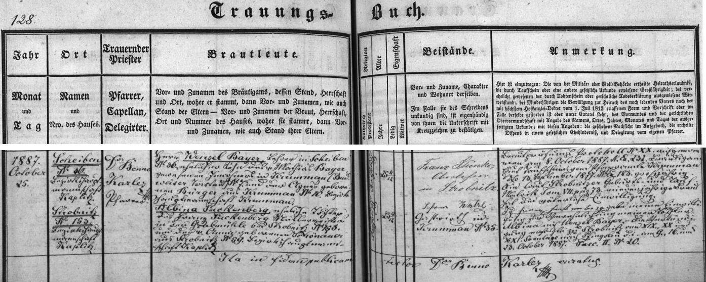 Záznam oddací matriky farní obce Horní Stropnice o jeho tamní svatbě s Albinou, roz. Fackenbergerovou, dcerou mlynářského mistra Franze Fackenbergera z dnes zaniklého Stropnického mlýna (Grabmühle) čp. 153 a jeho ženy Anny, roz. Schönauerové z Horní Stropnice čp. 59 - oddávajícím knězem byl páter Benno Karlez