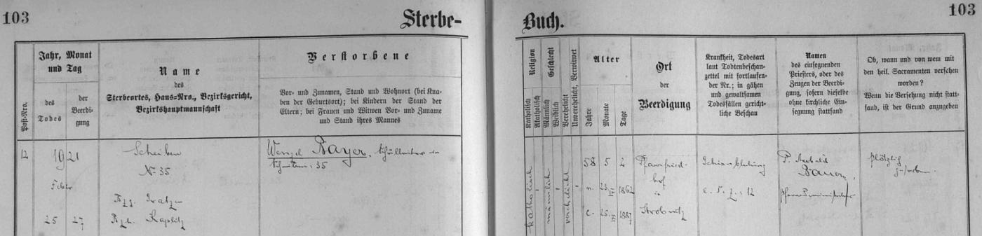 Záznam úmrtní matriky farní obce Horní Stropnice o jeho náhlém skonu následkem krvácení do mozku v Šejbech čp. 35