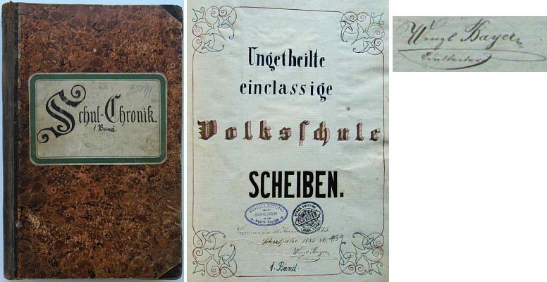 Desky a titulní list školní kroniky v Šejbech s jeho podpisem na úvod