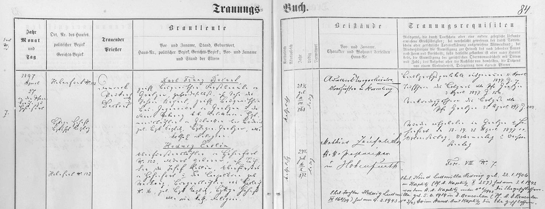 Záznam vyšebrodské oddací matriky o svatbě jeho rodičů