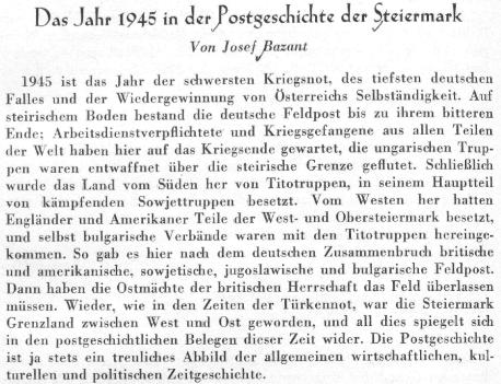 Záhlaví jeho článku o poštovní historii Štýrska také svědčí o tom, že tu ještě po válce žil