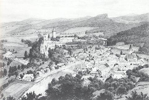 Hrad a město Rožmberk nad Vltavou na grafice Jana Nowopackého, významného rakouského krajináře své doby (žil v letech 1821-1908)