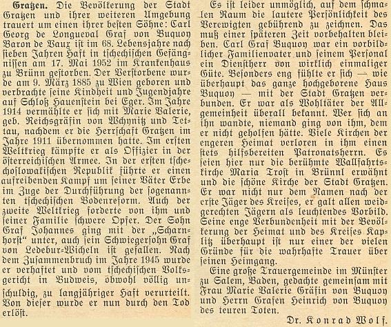 Nekrolog Carla Georga de Longueval hraběte von Buquoye barona de Vaux, který napsal Dr. Konrad Wolf do červencového čísla krajanského měsíčníku po úmrtí posledního pána na Rožmberku v brněnské nemocnici 17.května téhož roku 1952 po sedmi letech vězení