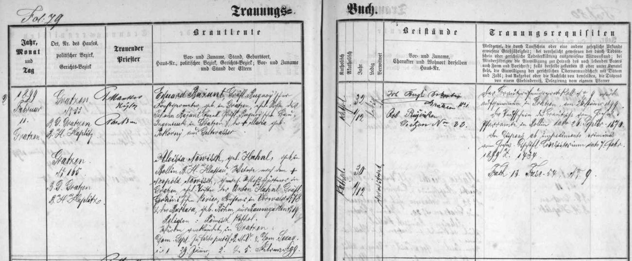 """Záznam novohradské oddací matriky o jeho zdejší svatbě dne 11. února roku 1899 s třicetiletou, tj. o dva roky než on mladší Aloisií Newischovou, roz. Hahnlovou, narozenou v Poleni (Bollin či Pollin), okr. Klatovy, vdovou po zámeckém zahradníkovi v Nových Hradech Leopoldu Newischovi a dcerou Antona Hahnla, hraběcího černínského (v originále """"Czernini'schen"""") revírního lesního ve Vorwaldu čp. 78 (u rakouského Freistadtu) a Barbary, roz. Böhmové zBaumgarten rovněž u Freistadtu"""