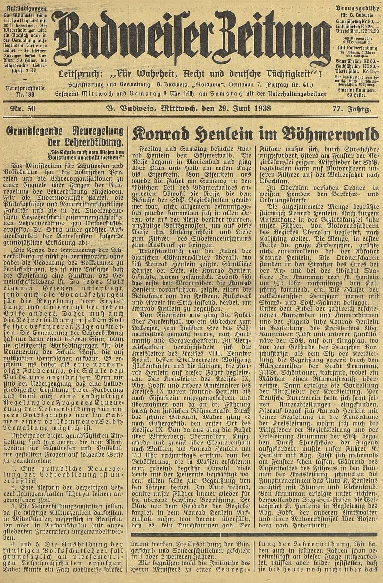 Titulní stránka českobudějovického německého listu se zprávou o Henleinově návštěvě Šumavy v červnu osudného roku1938